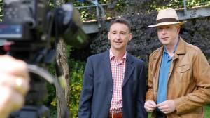 Filmaufnahmen mit Bürgermeister Gerhard Feeß und Rainer Wälde